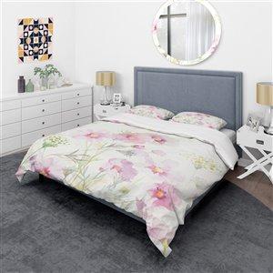 DesignArt 3-Piece Pink Shabby Flower IV Twin Duvet Cover Set