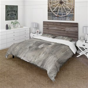 DesignArt 3-Piece Grey Farmhouse King Duvet Cover Set