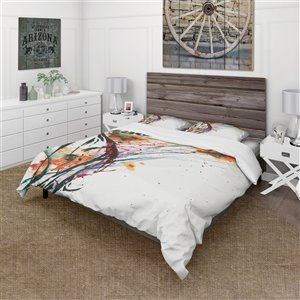 DesignArt 3-Piece Abstract Orange Flowers King Duvet Cover Set
