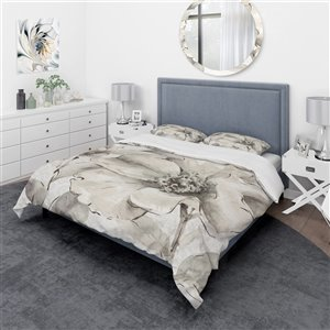 DesignArt 3-Piece Indigold Grey Peonies IV Twin Duvet Cover Set
