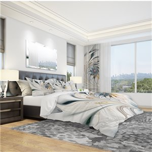 DesignArt 3-Piece White Stained Glass Floral Art King Duvet Cover Set