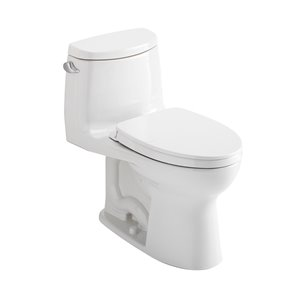 Toto Ultramax II Cotton White Watersense Labeled Single Elongated Comfort Height Toilet 12-in