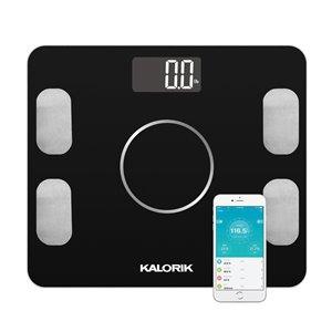 Pèse-personne intelligent avec indicateur de masse adipeuse Kalorik Home, 396-lb, noir