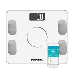Pèse-personne intelligent avec indicateur de masse adipeuse Kalorik Home, 396-lb, blanc