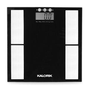 Pèse-personne numérique avec indicateur de masse adipeuse Kalorik, 396-lb, noir