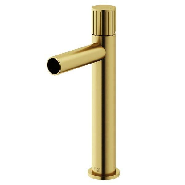 Robinet de salle de bain pour vasque Ashford par VIGO à 1 poignée en or brossé mat, homologué WaterSense