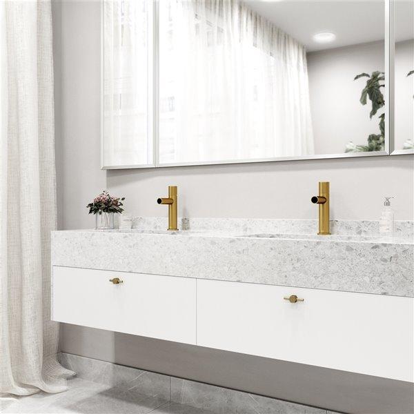 Robinet de salle de bain monotrou Ashford par VIGO à 1 poignée en or brossé mat, homologué WaterSense