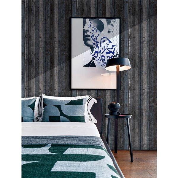Charbon de bois Bleu Beige Faux bois auto-adhésif Panneau mural 3D, 5-boîte