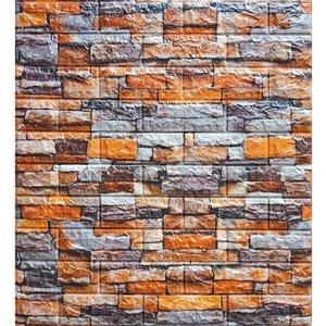 Orange Grey Beige Faux Stone Self Adhesive 3D Wall Panel, 10-Pack