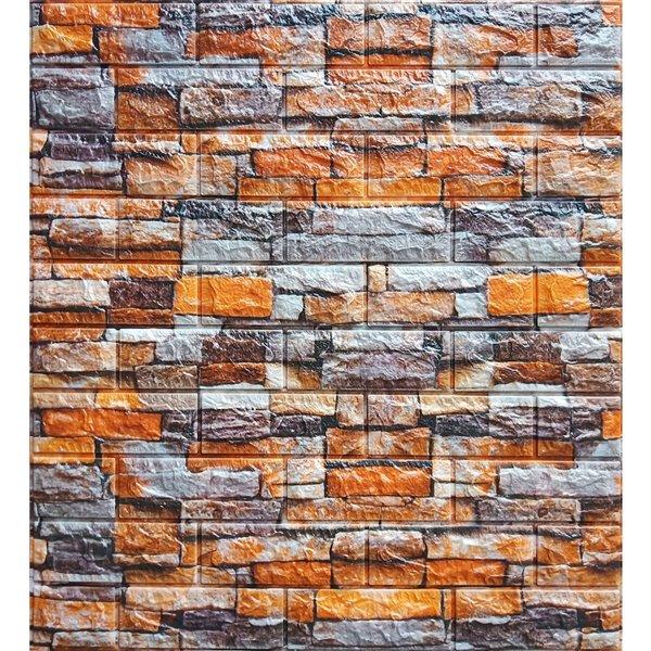 Orange Gris Beige Faux Pierre auto-adhésif Panneau mural 3D, 5-boîte