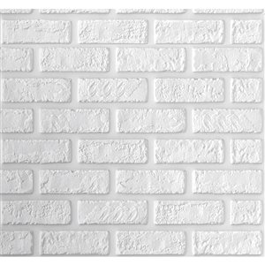 White  Faux Brick Self Adhesive 3D Wall Panel, 5-Pack