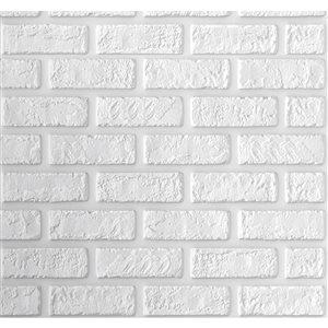 Faux blanc brique auto-adhésif Panneau mural 3D, 5-boîte