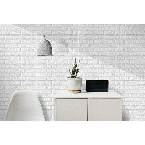 Faux blanc brique auto-adhésif Panneau mural 3D, 10-boîte