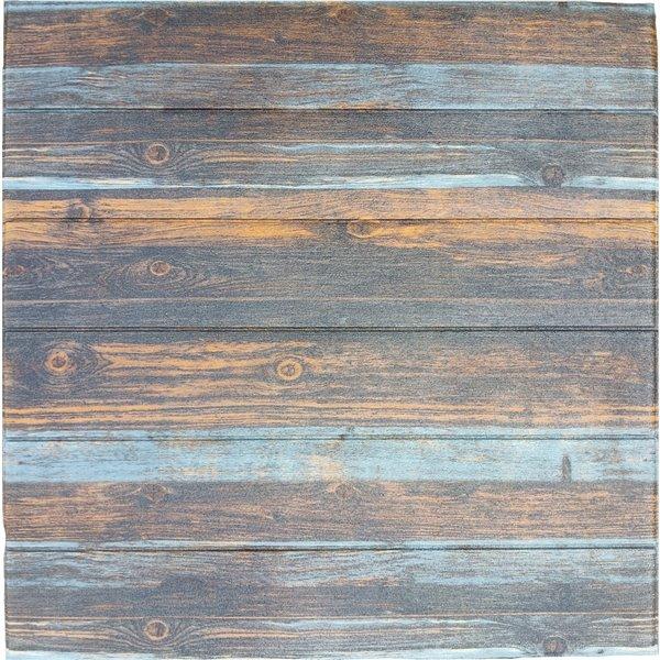 Charbon de bois Merigold Bleu Faux bois auto-adhésif Panneau mural 3D, 5-boîte