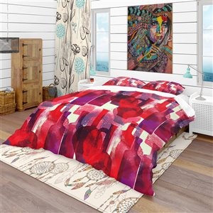 Designart 3-Piece Red Bohemian and Eclectic King Duvet Cover Set