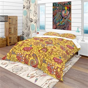 Designart 3-Piece Yellow and Gold Twin Duvet Cover Set