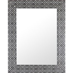 Mirrorize Canada 27.5-in x 35.5-in Rectangle Black and White Framed Wall Mirror