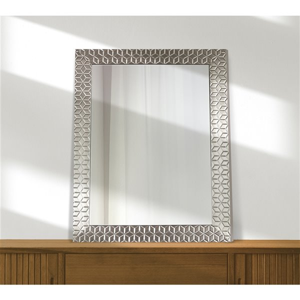 Mirrorize Canada 25-in x 33-in Rectangle Chrome Patterned Framed Wall Mirror