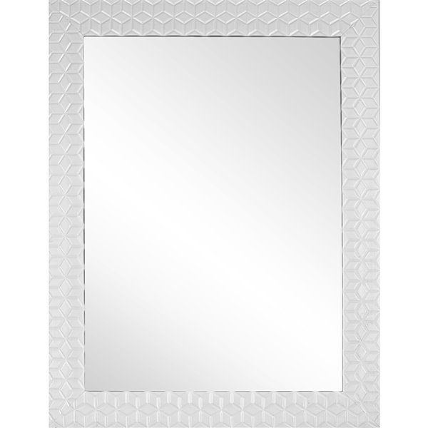 Mirrorize Canada 25-in x 33-in Rectangle White Patterned Framed Wall Mirror