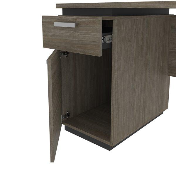 Petit bureau 45L Aquarius de Bestar, gris ardoise et noisette