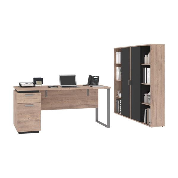 Bureau 66L avec caisson et armoires Aquarius de Bestar, brun rustique&graphite