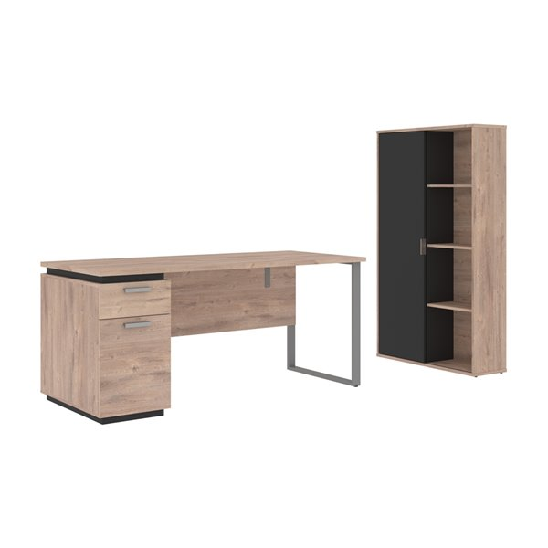 Bureau 66L avec caisson et armoire Aquarius de Bestar, brun rustique et graphite