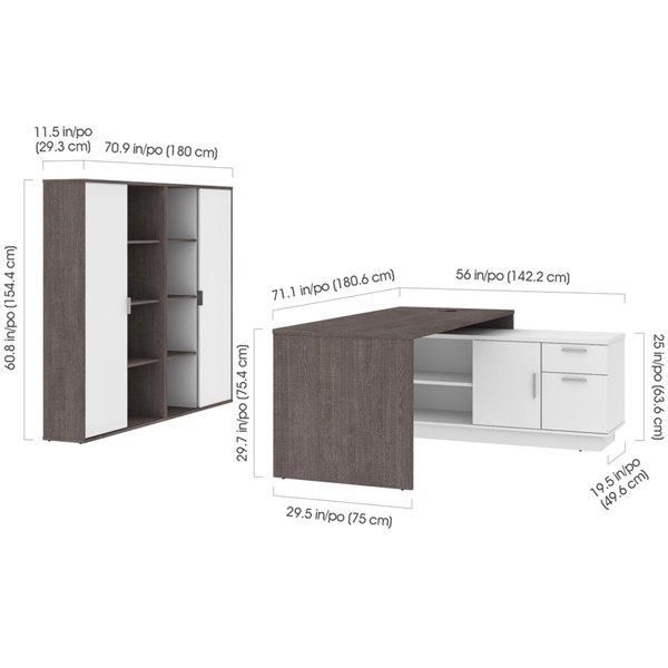 Bestar Equinox 72W L-Shaped Desk and Storage Cabinets in Bark Grey & White