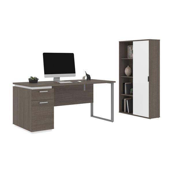 Bureau 66L avec caisson et armoire Aquarius de Bestar, gris écorce et blanc