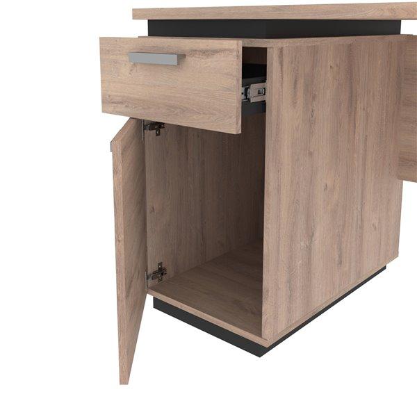 Petit bureau 45L Aquarius de Bestar, brun rustique et graphite
