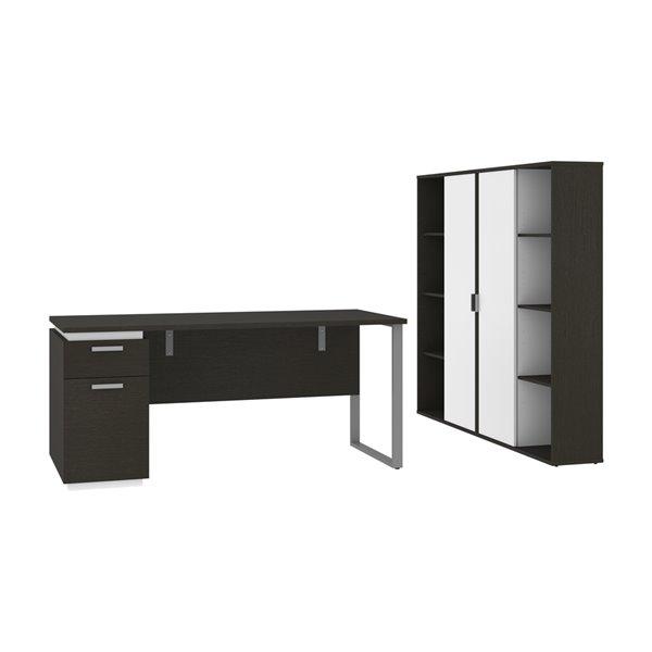 Bureau 66L avec caisson et armoires Aquarius de Bestar, gris profond et blanc