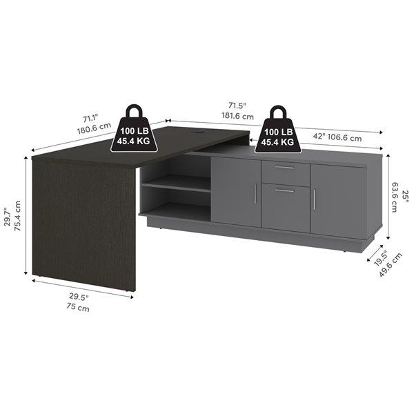 Bestar Equinox 71.1-in Modern/contemporary L-shaped - Deep Grey