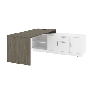 Bestar Equinox 71.1-in Grey & White Modern/contemporary L-shaped