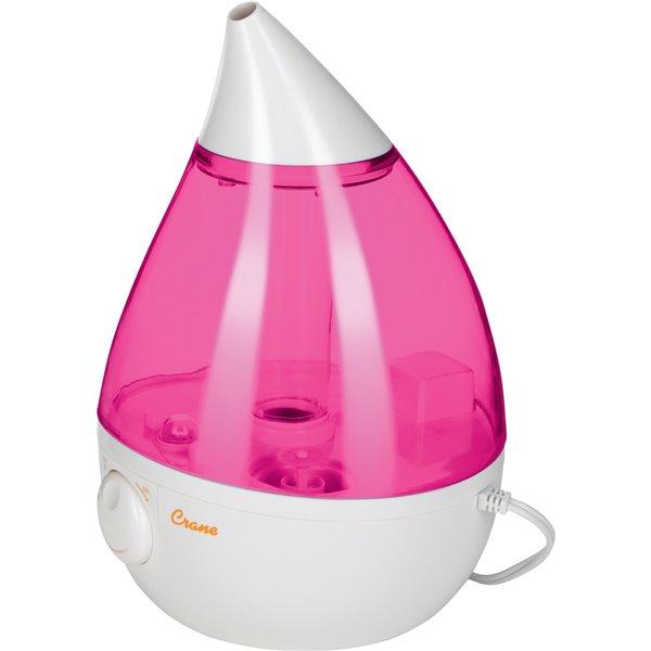 Humidificateur de table rose/blanc à ultrasons Drops de 1 gal. pour pièces de 401 - 1000 pi² par Crane