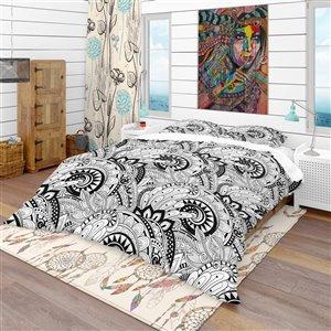 DesignArt 3-Piece Black Bohemian & Eclectic King Duvet Cover Set