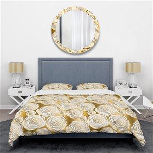 DesignArt 3-Piece Golden Floral III Queen Duvet Cover Set