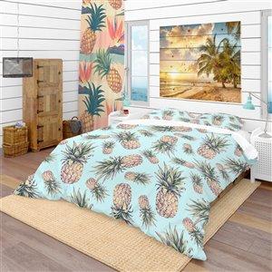 DesignArt 3-Piece Blue Tropical Twin Duvet Cover Set