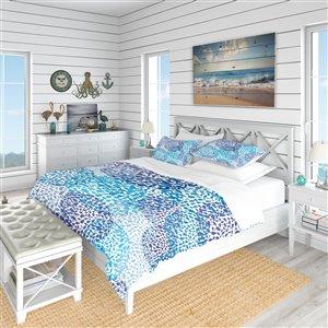 DesignArt 3-Piece Blue Nautical & Coastal Twin Duvet Cover Set