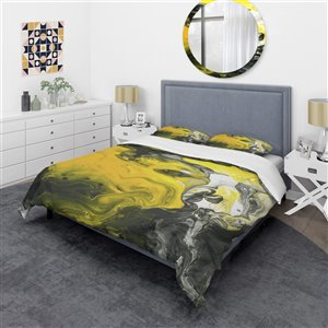 DesignArt 3-Piece Yellow and Gold King Duvet Cover Set