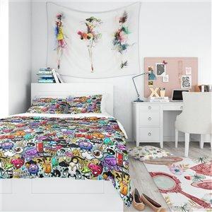 DesignArt 3-Piece Black Graffiti Texture' Modern Teen Queen Duvet Cover Set