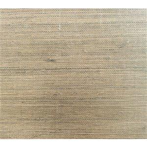 Papier peint Falkirk Elgin de Dundee Deco, toile de ramie 3D, 54 pi² beige foncé et anthracite sans colle à appliquer sur le