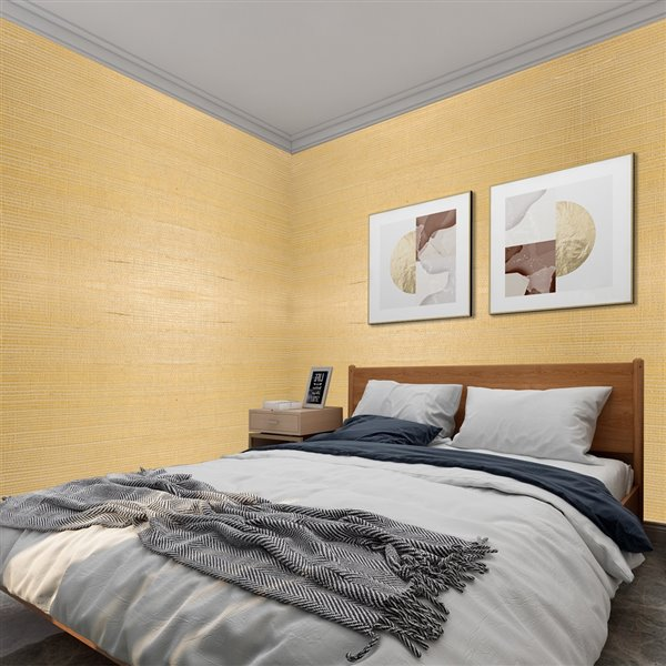 Papier peint Falkirk Elgin de Dundee Deco en toile de ramie 3D, 54 pi² beige foncé sans colle à appliquer sur le mur
