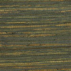 Papier peint Falkirk Elgin de Dundee Deco en toile de ramie 3D, 54 pi² vert, gris et jaune sans colle à appliquer sur le mur
