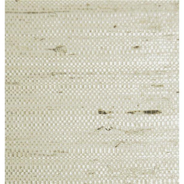 Papier peint Falkirk Elgin de Dundee Deco en toile de ramie 3D, 54 pi² blanc perle et beige sans colle à appliquer sur le mur