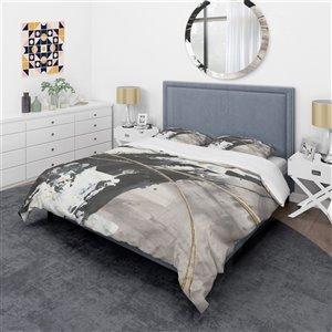 Designart 3-Piece Black Twin-Size Duvet Cover Set