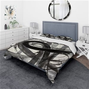 Designart 3-Piece Black Minimalistic Roller Twin Duvet Cover