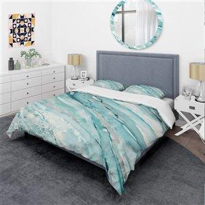 Designart 3-Piece Blue Farmhouse Twin Duvet Cover