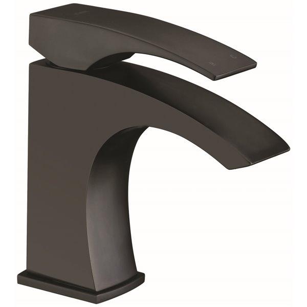 Robinet de salle de bains à 1 trou Rosana d'Agua Canada, levier unique, noir mat, plaque comprise
