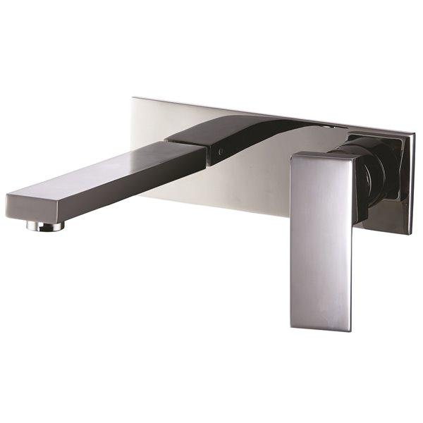 Robinet de salle de bains mural Riccardo d'Agua Canada, levier unique, chrome, plaque comprise