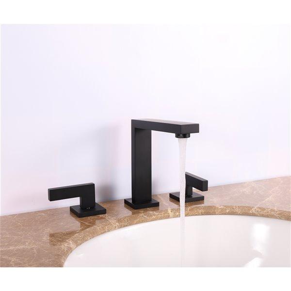 Robinet salle de bains Ramirez d'Agua Canada, 2 poignées, noir mat, plaque comprise