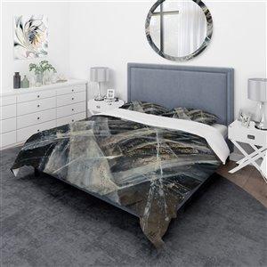 DesignArt 3-Piece Black Geometric Twin Duvet Cover Set